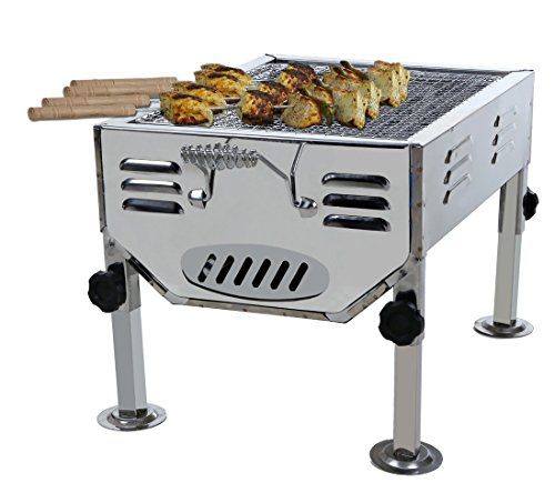 Fabrilla Portable Charcoal Barbeque Grill Set (Silver) 4