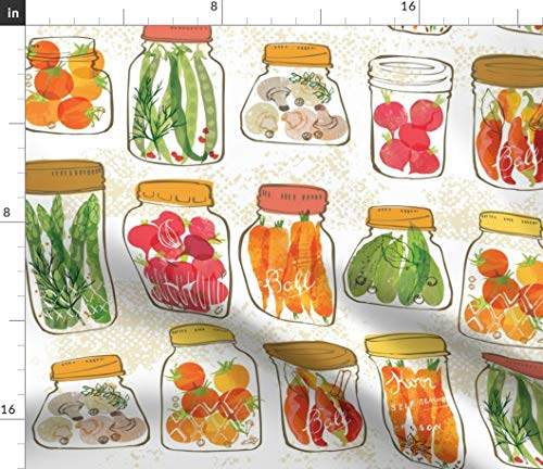 Pickles Pickled Orange - Spoonflower Kitchen Vegetables in Jars Fabric - Kitchen Food Cooking Kitchen Home Decor Vegetables Pickles Canning Harvest Thanksgiving Orange by OHN Mar Win Printed on Minky Fabric by The Yard