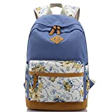 Causal Canvas Bookbag Alotpower Laptop Bag School Backpack Travel Bag (Blue)