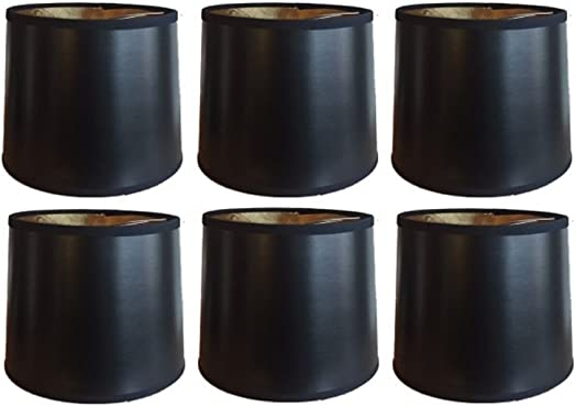 Upgradelights Black with Gold 6 Inch Tapered Drum Clip On Chandelier Lampshades Set of six 5x6x5