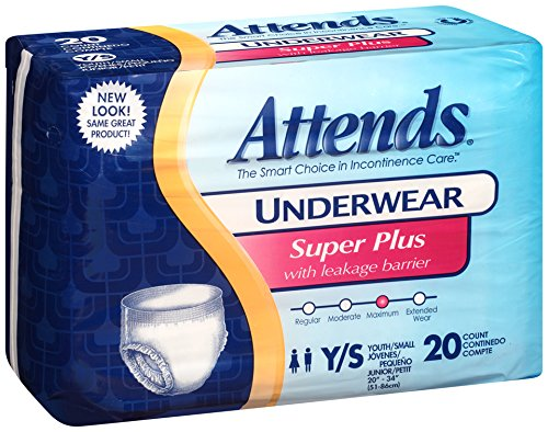 Adult Diaper Wholesale (Attends Incontinence Care Underwear, Super Plus, Youth, 20 Count (Pack of)