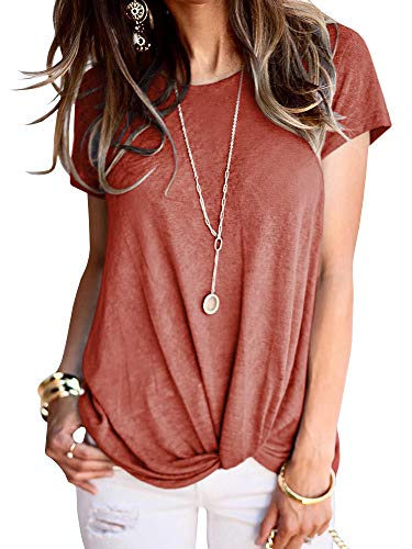 Ofenbuy Womens Knot Front T Shirts Short Sleeve Crewneck Solid/Floral Print Casual Basic Tee Tunic Tops (Medium, Orange Red)