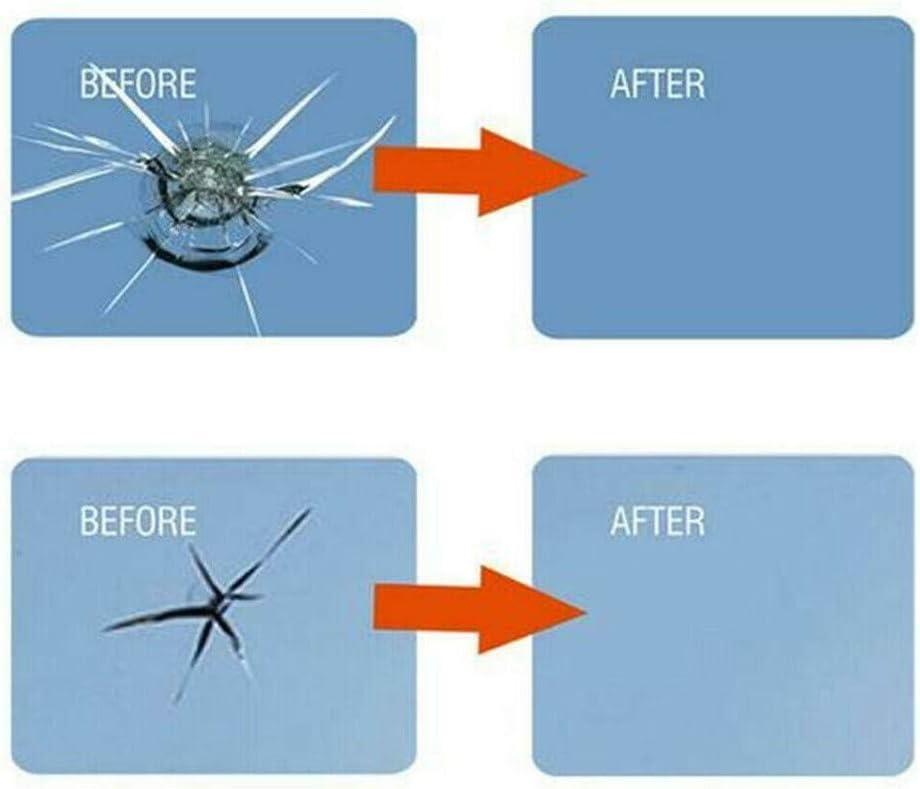 2 repair resin+5 cure strips+1 sleeve razor Cooljun/_123 Car Window Glass Repair Scratch Crack Chip Windscreen Windshield Repair Resin Fix DIY Tool Kit with Cure Strips Sleeve Razor