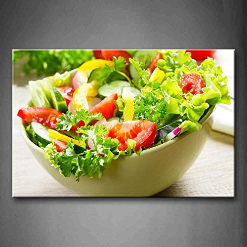 First Wall Art - Colorful Various Salad In White Bowl Wall Art Painting The Picture Print On Canvas Food Pictures For Home Decor Decoration Gift