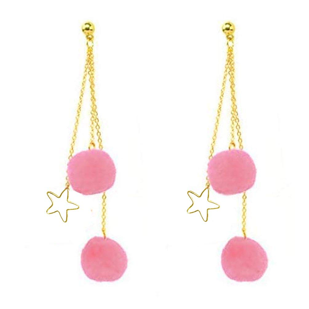 Kwan Long Chain Tassel Earrings Pom Pom Star Dangle Drop Ear Studs for Women Girls Gold Tone Fashion