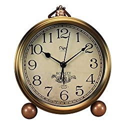 5.5 Gold Shelf Desk Clocks Battery Operated,Mantel Decorative Silent Vintage Large Numerals Analog Clock Non Ticking