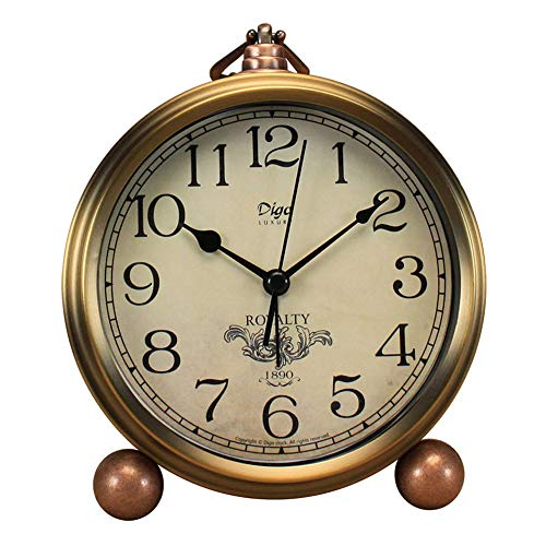 "5.5"" Gold Shelf Desk Clocks Battery Operated,Mantel Decorative Silent Vintage Large Numerals Analog Clock Non Ticking"