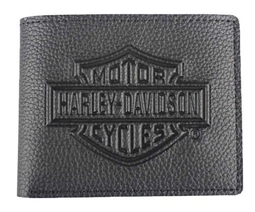 Harley-Davidson Men's Embossed B&S Logo Leather Billfold Wallet XML3554-BLACK