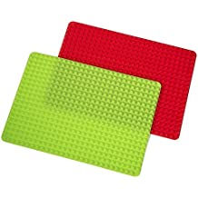 "Silicone Pyramid Baking Mat and Dog Treat Maker Non-stick Healthy Cooking 16"" x 11.5"" set of 2 red and green"