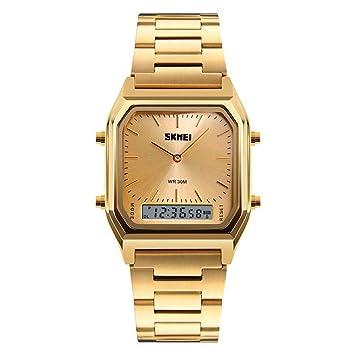 WULIFANG Reloj De Hombre Reloj Digital De Cuarzo Relojes Deportivos para Hombres Chronograph Dual Time Reloj De Hombre Oro: Amazon.es: Deportes y aire libre