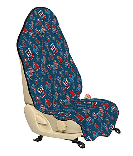 Ambesonne 4th of July Car Seat Cover, Icons of the USA Patriotic Bald Eagle Silhouette White House and Old Glory, Car and Truck Seat Cover Protector with Nonslip Backing Universal Fit, Ruby Blue White