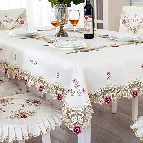 E, 130 X 180 Cm (51 X 71 Pouces) DHG Tissu de Table de Couleur Unie de Tissu de Nappe de Nappe de Coton,E, 130 x 180 cm (51 x 71 Pouces)