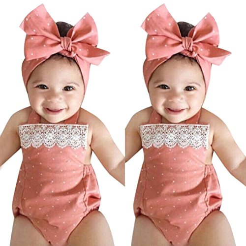 IEason Newborn Infant Baby Girls Letter Romper Jumpsuit Headband Outfits Clothes Set (6-12 Months, Pink) -