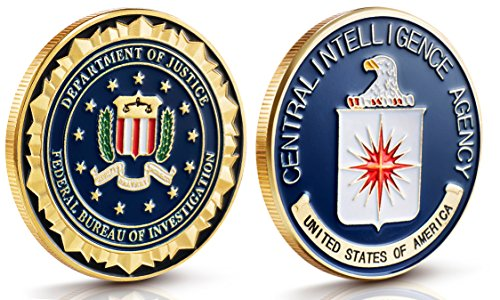 FBI & CIA Challenge Coin Set - 2 Brilliant Coins - Gold Plated Stunning Detailing on Coins