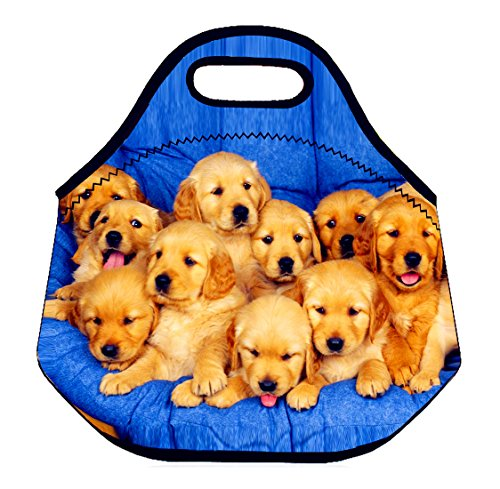 (Ten Cute Puppies) 3.5MM Thick Neoprene Lunch Bag/Lunch Tote, Insulated | Stretchy | Reusable | Washable | Rugged Zipper | Great For Lunchboxes & Snacks By Selric
