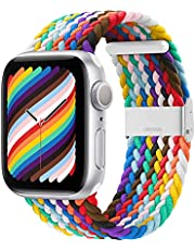Bagoplus Compatible with Apple Watch iWatch Bands 38mm 40mm 42mm 44mm Women Men, Adjustable Braided Solo Loop Stretchable Nylon Elastics Sport Wristband for iWatch Series 6/SE/5/4 with Protective Case