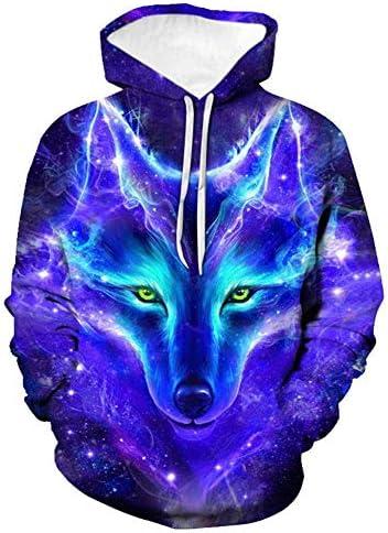 Berrd Neue ModeSweatshirt Herren Sweatshirt Damen Sweatshirt Blauer lila Wolf-2XL