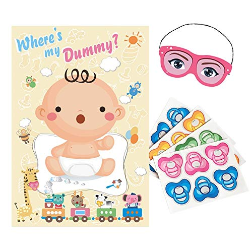 ADJOY Baby Shower Party Favors and Game - Pin The Dummy on The Baby Game