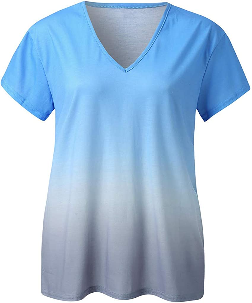 Womens Short Sleeve T Shirt V Neck Loose High Low Tee Shirts LIM/&Shop Tie Dye V Neck Summer Casual Tunic Tops Comfy Blue