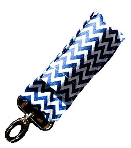 lip-balm-chapstick-keychain-pouch-lanyard-strap-navy-blue-chevron-fob-holder