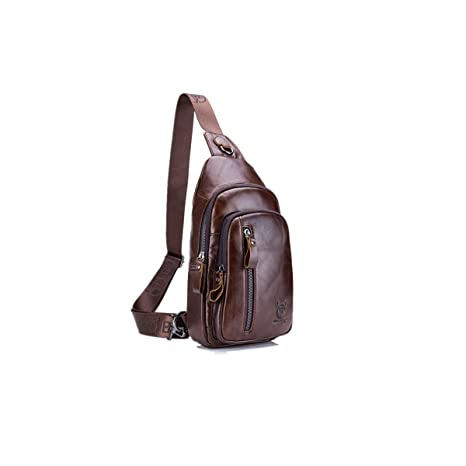 ddf8ab76d Amazon.com: CHARMINER Sling Bag, Leather Chest Bag Crossbody Shoulder  Business Backpack Outdoor: Sports & Outdoors