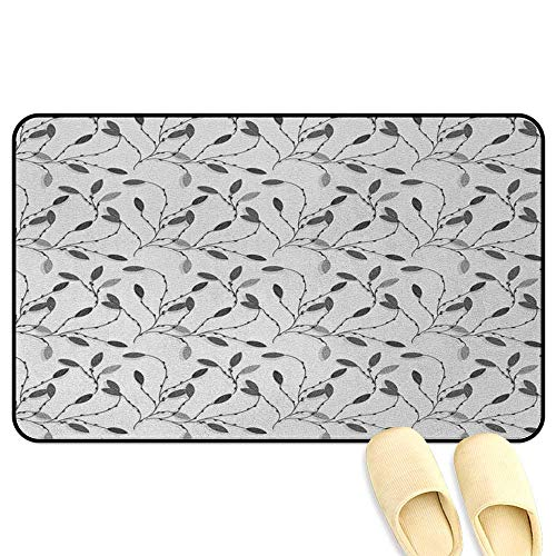 - Grey Bathroom Mats Rubber Non Slip Contemporary Graphic of Fall Autumn Leaves and Branches Simple Pure Shabby Chic Art Gray White Hard Floor Protection W24 x L35 INCH