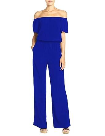 Femme Bodysuit Jumpsuit Combinaisons Longues Pantalons Casual Épaule  Dénudée Slim Plage Soirée Bleu 2XL a2aa2a1d2ae2
