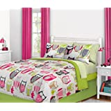 Nature Hoot Owl Girls Twin Comforter Set (6 Piece Bed In A Bag)
