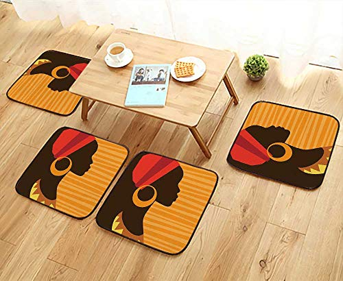 Leighhome Simple Modern Chair Cushions Girl Profile Silhouette with Earrings Grace and Elegance Icon Image Dark Brown Merigold Reusable Water wash W27.5 x L27.5/4PCS Set