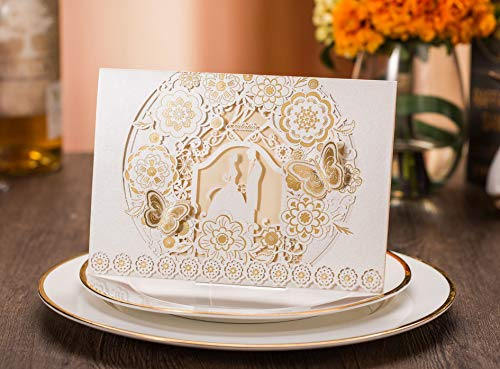 Tennove 25PCS Invitation Cards Laser Cut Wedding Party Invitations Cards with Lace for Wedding Engagement Party,White (Beauty And The Beast Bridal Shower Invitations)