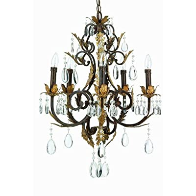 Lite Source C790 Crystal 5 Light Up Lighting Chandelier from the Stedim Collecti,