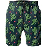 PTYHR Beach Shorts, Swim Shorts Men Summer Sport Surfing Board Shorts with Pockets, Cactus Quick Dry Casual Swim Trunks