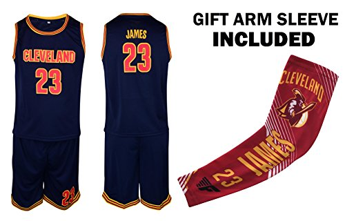 Fan Kitbag James Jersey Kids Lebron Basketball Navy James Jersey & Shorts Youth Gift Set ? Basketball Compression Shooter Arm Sleeve ? Premium Quality (YS 6-8 Years, James Jersey Gift Set)