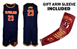 Fan Kitbag James Jersey Kids Lebron Basketball Navy James Jersey & Shorts Youth Gift Set ✓ Basketball Compression Shooter Arm Sleeve ✓ Premium Quality (YL 10-13 Years, James Jersey Gift Set)