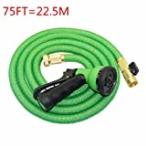 Sammid Expanding Garden Hose,75ft Adjustable Hose Nozzles 8 Pattern High Pressure Power Washer - Green