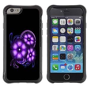 LASTONE PHONE CASE / Suave Silicona Caso Carcasa de Caucho Funda para Apple Iphone 6 / Purple Space Flowers