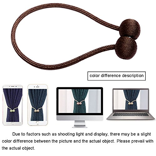 ZCINT Magnetic Curtain Tiebacks Home Decro Rope Holdbacks Window Sheer 4 Pcs (Coffee)
