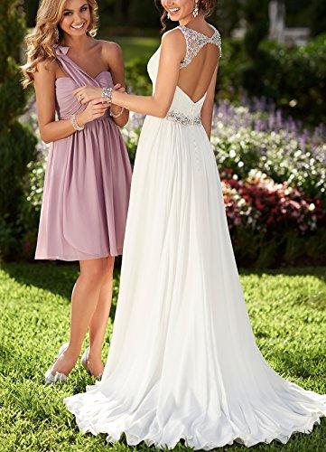 Senza ad Bridal Vestito Mall Avorio maniche linea Donna a qtFt6zX7w