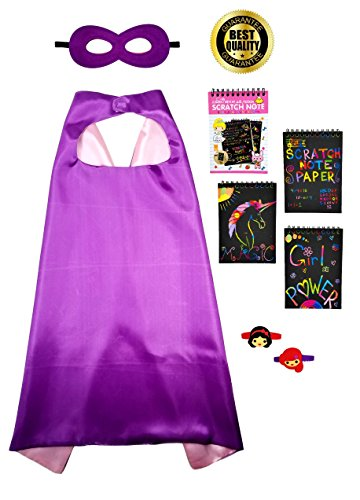 Kids 5 Piece Set - Pink & Purple Superhero Cape and Mask, with 2 Bracelets and 1 Mini Scratch off Coloring Book (10 pages) Scratch Art Rainbow Pad With Wooden Stylus. - Kids Play 5 Note