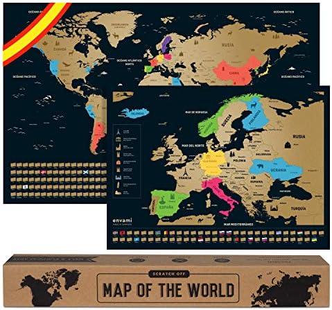 Mapa Mundi Rascar I Español I Más el mapa de Europa I Mapas del Mundo para Marcar Viajes I 68 X 43 CM I Plata I Scratch Off Travel Map: Amazon.es: Oficina
