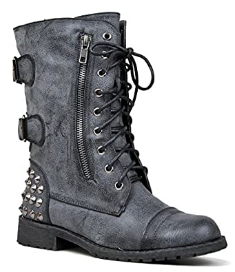 Studded Mid Calf Combat Boot - Lace Up Flat Bootie - Easy Zip Up Low Heel Shoe - Cute Women Military Boot