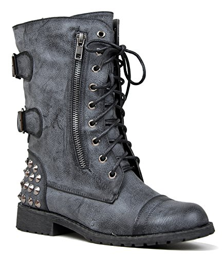 HARLEY-12 Studded Lace Up Distress Buckle Mid Calf Military Combat Boot,6 B(M) US,Black Pu (Cheap Cowgirl Boots Under 20)