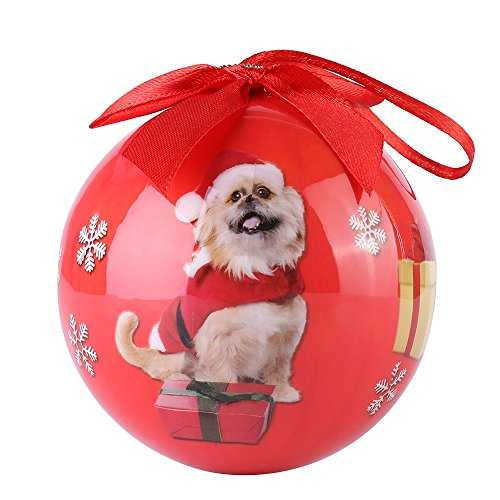 CueCue Pet CUECUEPET Christmas Winter Themed Decoration Shatterproof Memorial Ball with Top Bow-Pomeranian Dog Holiday Ornament, One Size, Red