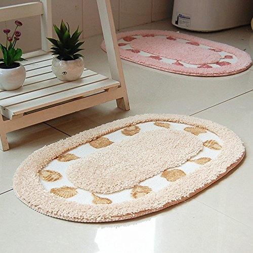 DreamInn Oval Non-slip Doormat Absorbent Doormat Floor Mat Bath Mat Bathroom Shower Rug Bedroom Living Room Carpet(champagne)
