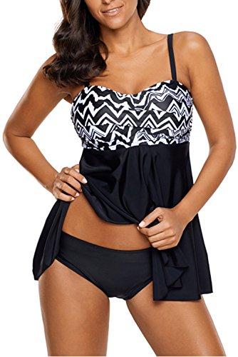 Momolove Womens Ruched Tankini Swim Top Two Piece Swimsuit Tummy Control 2XL Regular Tummy Control