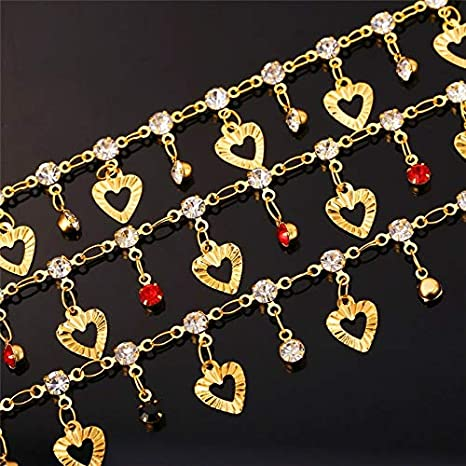 Naomi Trendy Heart Anklet Summer Jewelry Gift Red Crystal Gold Color Ankle Foot Chain Bracelet for Women Black 21cm 5cm