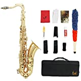 LADE Brass Bb Tenor Saxophone Sax Carved Pattern Pearl White Shell Buttons Wind Instrument with Case Gloves Cleaning Cloth Grease Belt Brush