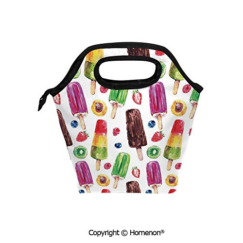 Insulated Neoprene Soft Lunch Bag Tote Handbag lunchbox,3d prited with Yummy Cute Vivid Ice Creams with Fruit and Chocolate Flavors Kiwi Watercolor,For School work Office Kids Lunch Box & Food Contai