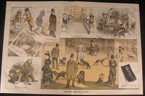 (Reform Regulators Drunks Spies Sniffer Dogs 1880 antique color lithograph print)