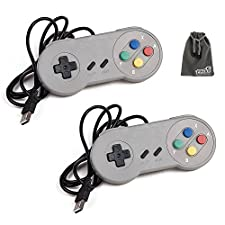 EEEKit 2 Pack Classic Retro Super Nintendo SNES USB Wired Controller Connector Jopypads Gamepads for iOS Android Windows PC Mac Raspberry Pi